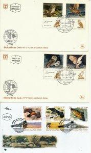 ISRAEL  FAUNA 1985 - 1987 - 2002 - 2013 BIRDS OF PREY 6 FDC's LOT - RARE ITEM