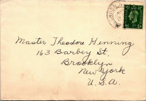London UK > Brooklyn NY 1930s cover GVI ½d stamp cover