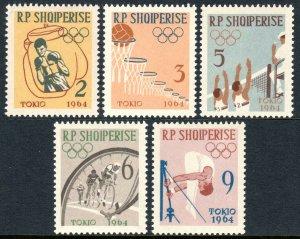 Albania 666-670, MNH.Pre-Olympics,Tokio.Boxer,Volleyball,Bicyclists,Gymnast,1963