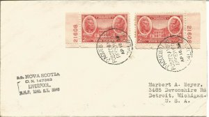 Maritime Mail Cover Posted On Board SS Nova Scotia To USA 18 April 1938 U691