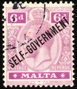 1922 Malta Sg 109 6d dull and bright purple 'Self Government' Fine Used