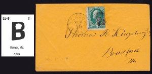 BANGOR MAINE 1872 LARGE B FANCY CANCEL ORANGE COVER 3¢ WASHINGTON BANK NOTE