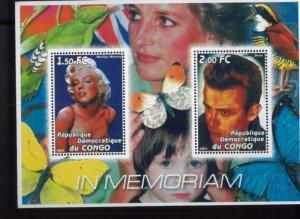 MEMORY OF JAMES DEAN, MARLYN MONROE Souvenir Sheet MNH CONGO 2001 - E92