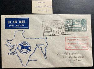 1937 Indore City India First Flight Airmail cover FFC To Gwalior