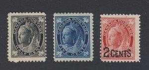 3x Canada Victoria Leaf Stamps #66-1/2c #70-5c #87-2/3c Guide Value = $91.00