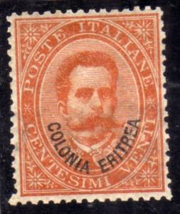 ERITREA 1893 SOPRASTAMPATO SU RE UMBERTO CENT. 20c MNH OTTIMA CENTRATURA FIRM...