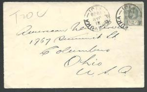 FIJI 1928 GV 2d on cover to USA ex LEVUKA, taxed...........................65394