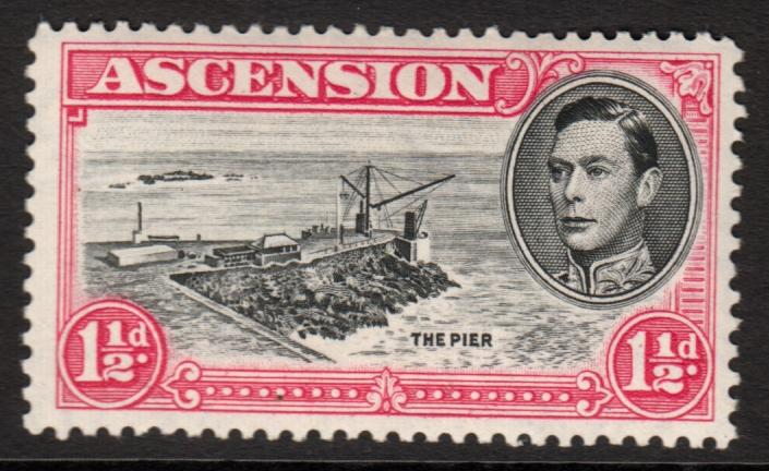 Ascension KGVI 1938 1.5d Black Rose-Carmine SG40f Mint Hinged