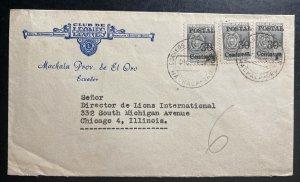 1953 Machala Ecuador Lions International Club cover to Chicago IL USA