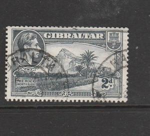 Gibraltar GV1 1938/51 2d P13.5, Wmk Sideways, FU SG 124ab