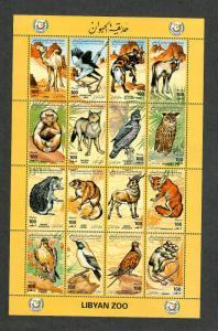 Libya Sc#1506 M/NH/VF, Sheet/16 Animals, Cv. $25