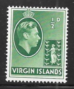British Virgin Islands 76: 1/2d George VI, MH, F-VF