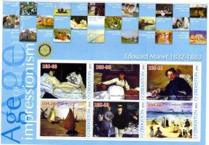 UZBEKISTAN 2002 Edouard Manet Paintings Sheet Perforated mnh.vf