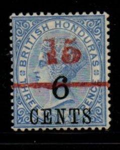 British Honduras Sc 37 1891 15c red on  6c on 3d Victoria stamp mint