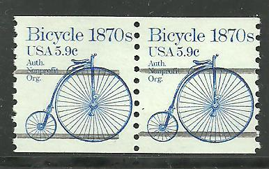 #1901A Bycycle Gap Pair Precancel 2 Mint NH