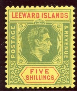 Leeward Islands 1938 KGVI 5s green & red/yellow (CH) MLH. SG 112.