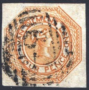 Australia Tasmania 1853 4d Dull Orange SG 11 Scott 2 VFU  Cat £375($457)