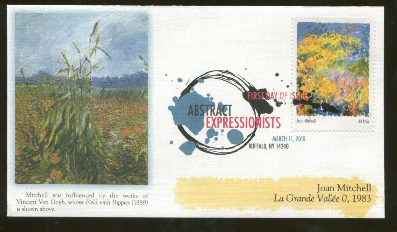 2010 Buffalo New York - Abstract Expressionists - Joan Mitchell - Fleetwood FDC
