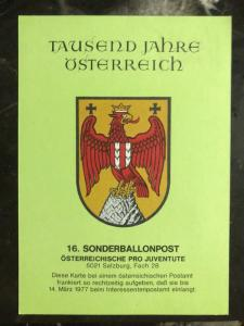 1977 Austria Balloon Flight Postcard Cover To Salzburg Austria Centenary