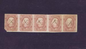 SCOTT# CSA8 TWO CENT USED HORIZ STRIP OF 5, PEN ~ X ~ CANCELS, 1863. PF CERT!