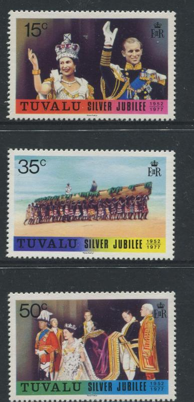 Tuvalu - Scott 43 - 45 - Silver Jubilee -1977 - MNH - Set of 3 Stamps