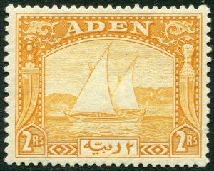 ADEN-1937 2r Yellow.  A mounted mint example Sg 10