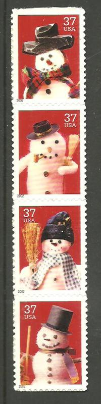 #3676-79 Snowmen strip of 4 from sheet Mint NH