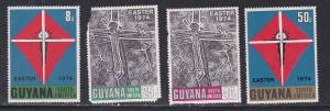 Guyana # 193-196, Easter, One Stamp Damaged, NH