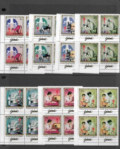 Guinea 852-8 Medical MNH cpl. set , block of 4.  2020 CV $81.40