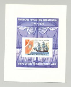 Grenada Grenadines #181 Bicentennial Ships S/S Imperf Proof on Card