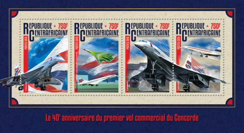 C A R - 2016 - 40th Ann Concorde 1st Flight-Perf 4vSheet-MNH