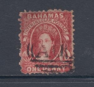 Bahamas Sc 5 used 1862 1p lake Queen Victoria, perf 12½ x 12