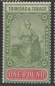 TRINIDAD & TOBAGO SG215 1921 £1 GREEN & CARMINE MTD MINT