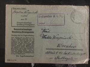 1940s Germany Neuengamme Concentration Camp Cover to Wreschen KZ