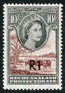 Bechuanaland SG167b 1R on 10/- Type 2 surcharge central M/M