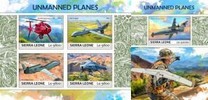 Z08 IMPERF SRL17710ab SIERRA LEONE 2017 Unmanned planes MNH ** Postfrisch Set