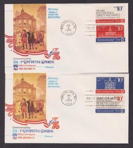 1543 - 1546 Continental Congress pair of Unaddressed Fleetwood FDCs