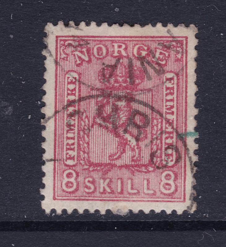 Norway an early (1867) 8Sk red used