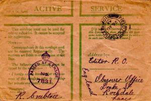 Great Britain Soldier's Free Mail 1944 Field Post Office, 110 Central Mediter...