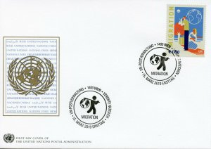 United Nations UN Vienna 2019 FDC Definitive Migration 1v Set Cover Stamps