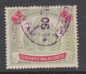 Malaya Sc 35 used. 1906 $2 Elephants and Howda definitive
