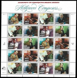 PCBstamps       US #3339/3344 Sheet $6.60(20x33c)Hollywood Composers, MNH, (2)