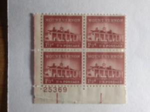 SCOTT # 1032 PLATE BLOCK GEM MOUNT VERNON  1958