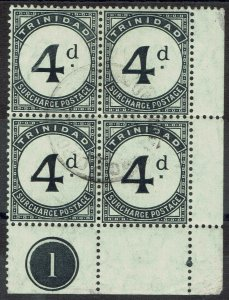 TRINIDAD 1905 POSTAGE DUE 4D PLATE 1 BLOCK WMK MULTI CROWN CA USED