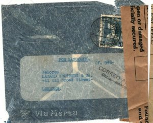Colombia INTERRUPTED Cover Air Mail GB London RESEALED GPO LABEL 1934 SV2