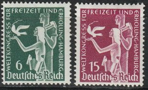 Stamp Germany Mi 622-3 Sc 477-8 1936 3rd Reich Hamburg World Recreation MNG