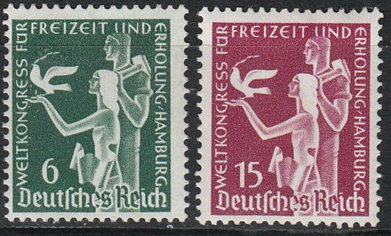 Stamp Germany Mi 622-3 Sc 477-8 1936 3rd Reich Hamburg World Recreation MH