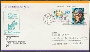 USA 1975 Lufthansa first flight cover to Santiago Chile.....................F954