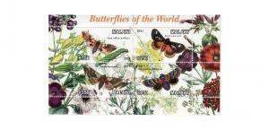 Malawi - Butterflies - 4 Stamp  Sheet 13K-156