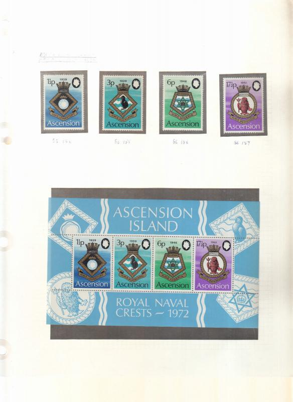 ASCENSION ISLANDS NAVAL CREST STAMPS AND MINI SHEET 4TH SERIES 1972